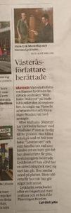 VLT-artikel Västeråsförfattare berättade Hannes Lyckholm